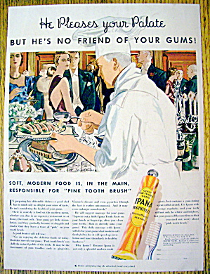 1934 Ipana Toothpaste with Chef Setting Up Buffet (Image1)