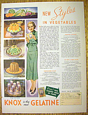 1935 Knox Gelatine With 3 Different Desserts
