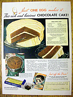 1936 Baker's Chocolate With Oriole Devil's Food Cake