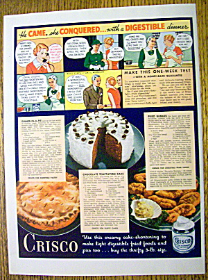 1936 Crisco Shortening With Cake, Pie & Fried Bubbles
