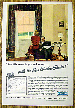 1937 Cloth Window Shade with Woman Looking at Window (Image1)