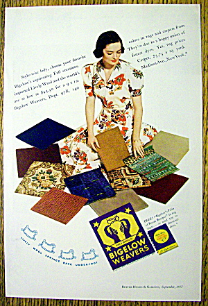 1937 Bigelow Weavers with Woman & Carpet Samples (Image1)