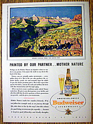 1938 Budweiser Beer with Grand Canyon From South Rim (Image1)