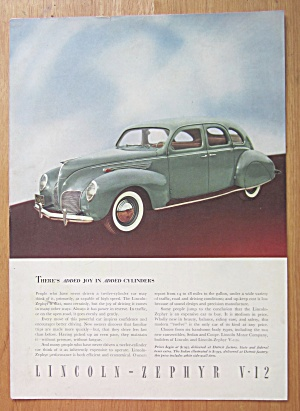1938 Lincoln Zephyr V-12 With Green Zephyr