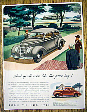 1938 Ford V-8 With Woman Looking At Car