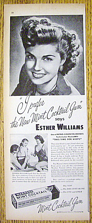 1947 Warren Mint Cocktail Gum with Esther Williams (Image1)