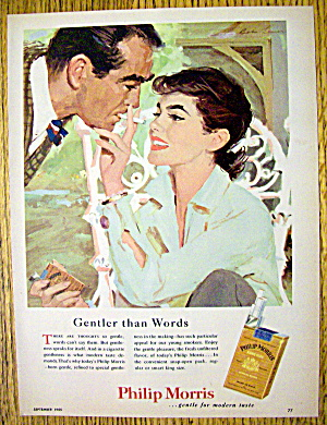 1955 Philip Morris Cigarettes With Woman & Man