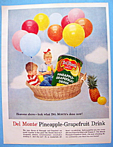 1957 Del Monte Pineapple Grapefruit Drink W/two Kids