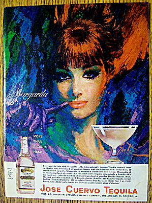 1965 Jose Cuervo Tequila With Woman's Face