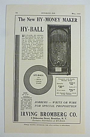1932 Irving Bromberg Co. W/ Hy-money Maker Hy Ball Game