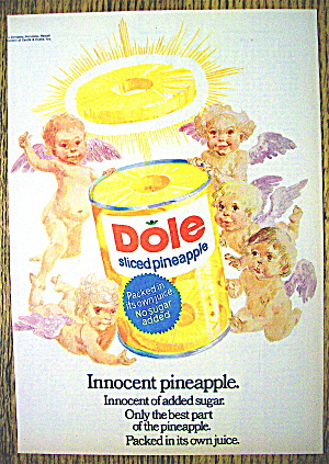 1972 Dole Sliced Pineapple With 5 Angels Around A Can