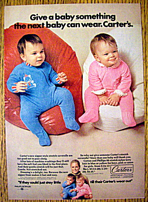 1972 Carter Zipper Coveralls with 2 Babies on Bean Bags (Image1)