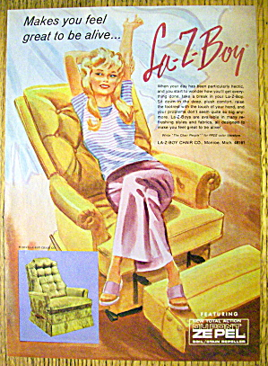1974 Lazy Boy Chair with Woman Sitting & Stretching (Image1)