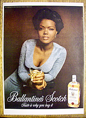 1974 Ballantine Scotch Whiskey With Woman Holding Glass