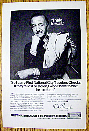 1976 First National City Travelers Checks W/david Niven