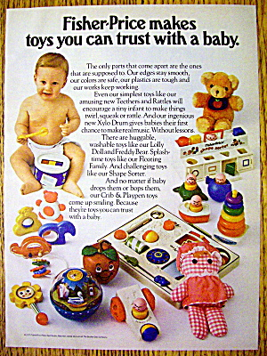 1977 Fisher Price Toys With Baby Playing The Xylo Drum