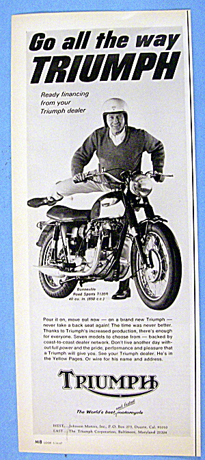 1967 Triumph With Man & Bonneville Road Sports T120r