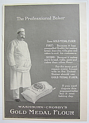 1907 Gold Medal Flour With Man Standing By Bag Of Flour