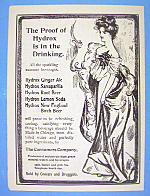 1901 Hydrox Beverages With Lovely Woman