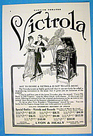 1913 Lyon & Healy Victrola With Couple Dancing