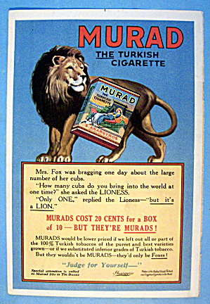 1913 Murad Cigarettes With Lion