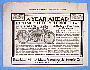 1916 Excelsior Motor With Auto Cycle Model 17-3