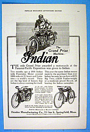 1916 Hendee With Indian Motorcycle