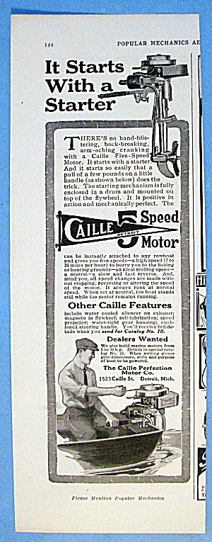 1916 Caille 5 Speed Motor With Man Starting Boat Motor