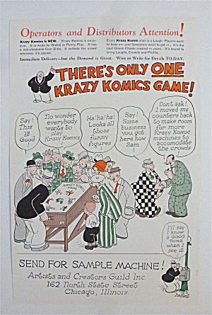1932 Krazy Komics Games With Men Around Game