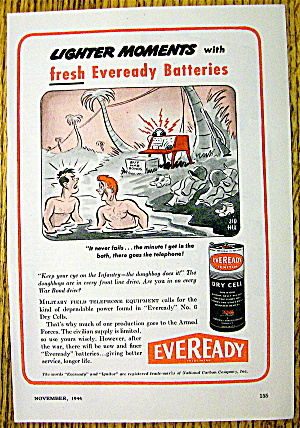 1944 Eveready Battery With Men In Water By Sid Hix