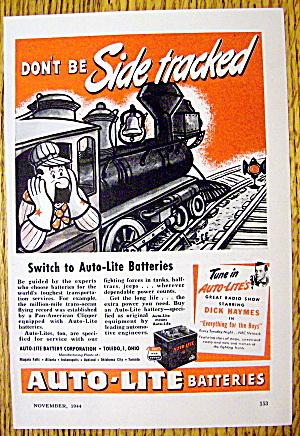 1944 Auto Lite Batteries W/man In Train By Hoff