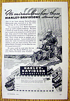 1944 Harley Davidson With Man Riding In Rain