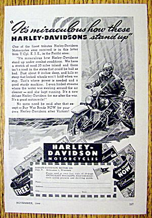 1944 Harley Davidson With Man Riding In Rain (Image1)