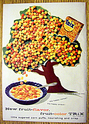1957 Trix Cereal With Trix Tree