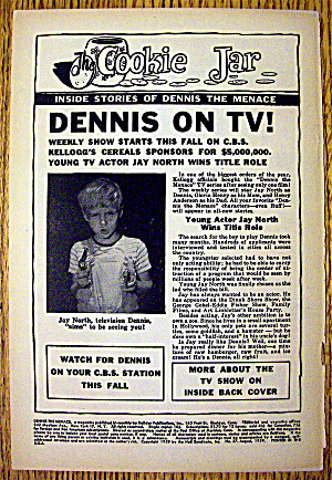 1959 Dennis On Tv W/ Jay North Tv's Dennis The Menace