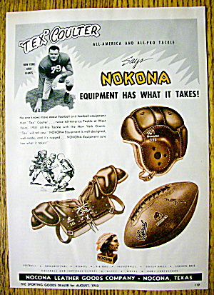 1953 Nokona Equipment With New York Giants Tex Coulter