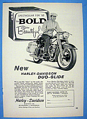 1960 Harley Davidson Duo Glide With Man On Bike