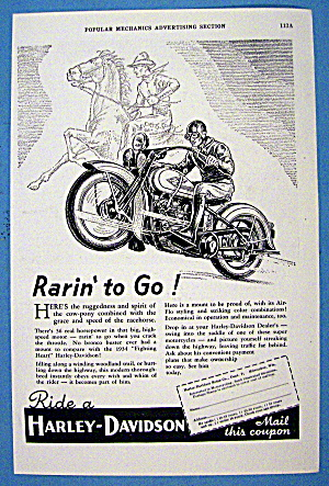 1934 Harley Davidson Motorcycle with Man On Horse (Image1)