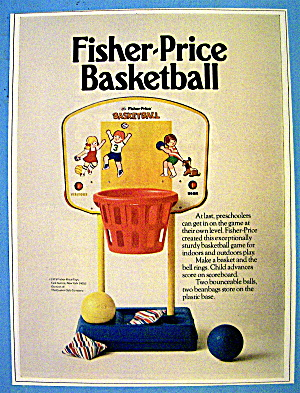 1973 Fisher Price Basketball Toy With 2 Basketballs