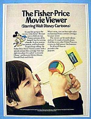1973 Fisher Price Movie Viewer With Disney Cartoons