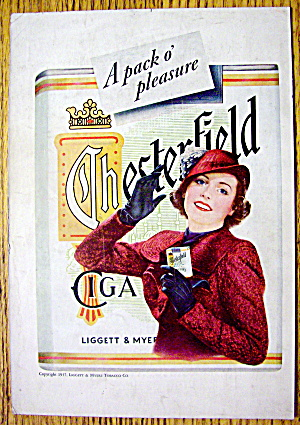 1937 Chesterfield Cigarettes w/Woman Holding Cigarettes (Image1)