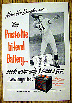 1953 Prest -O- Lite Battery with Norm Van Brocklin (Image1)