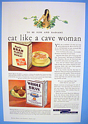 1931 Whole Bran & Flakes With Cave Woman
