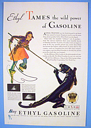 1938 Ethyl Gasoline With Woman & Tiger