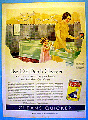 1931 Old Dutch Cleaner With Woman & Little Girl