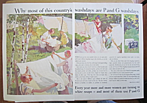 1931 P & G White Soap W/ Woman Hanging Laundry Outside