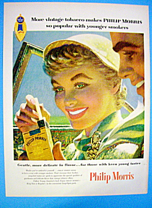 1955 Philip Morris With Woman Taking Cigarettes