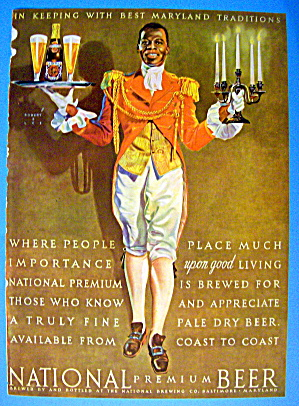 1941 National Premium Beer with Waiter & Tray (Image1)
