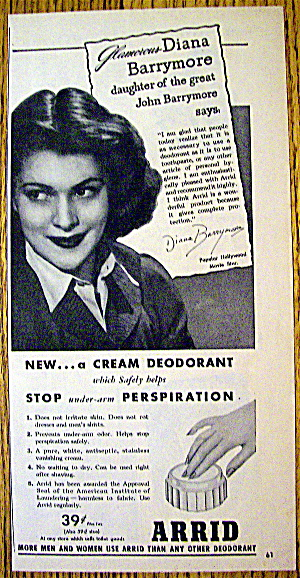 1945 Arrid Deodorant With Diana Barrymore