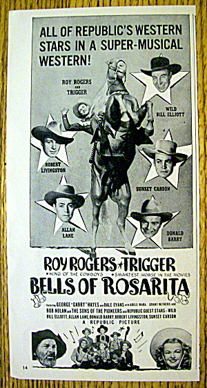 1945 Bells Of Rosarita With Roy Rogers & Trigger